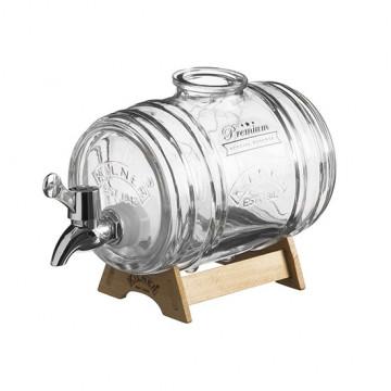 Dispensador con grifo Barril 1L con soporte de madera Kilner