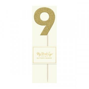 Topper numero 9 Purpurina Oro
