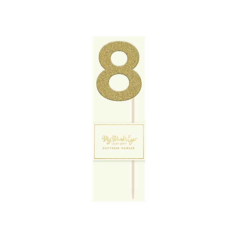 Topper numero 8 Purpurina Oro