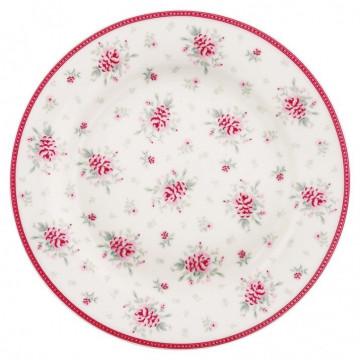 Plato de cerámica de 20 cm Flora White Green Gate