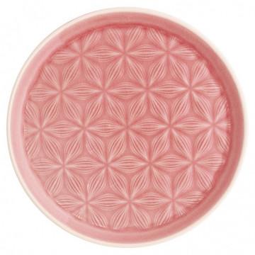 Plato de cerámica labrado Kallia Pale Pink Green Gate