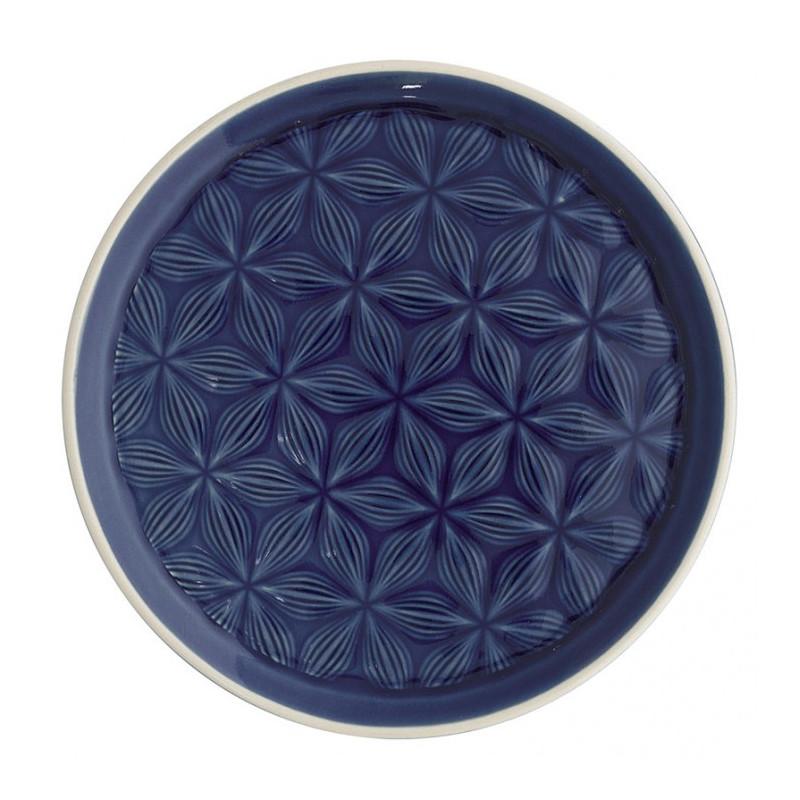 Plato de cerámica labrado Kallia Dark Blue Green Gate