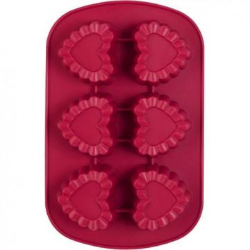 Molde 6 Cavidades de Silicona Corazón con Blondas Wilton