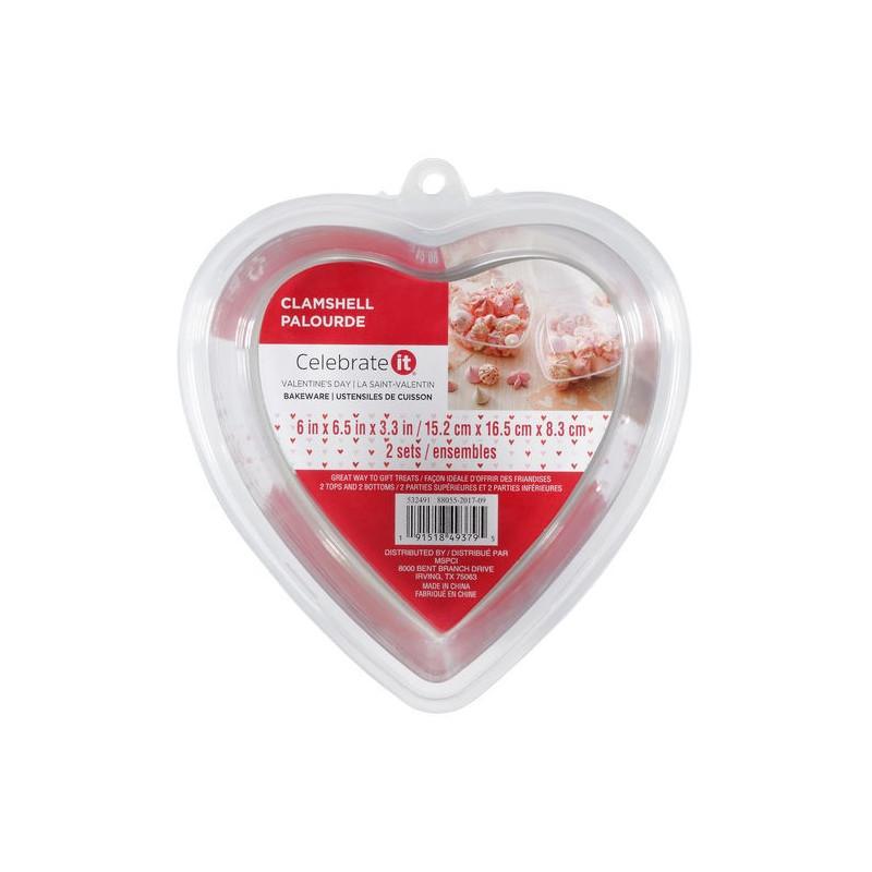Pack de 2 envases de plástico con tapa Corazón Wilton