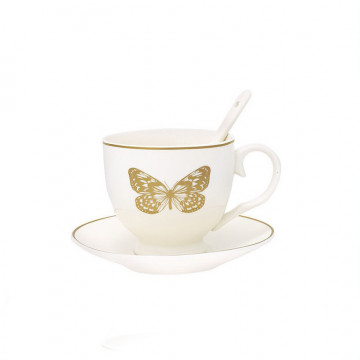 Taza + plato Butterfly Gold 1 Green Gate