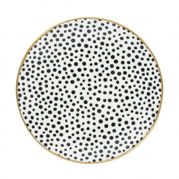 Plato de cerámica Dot Black borde Oro Green Gate