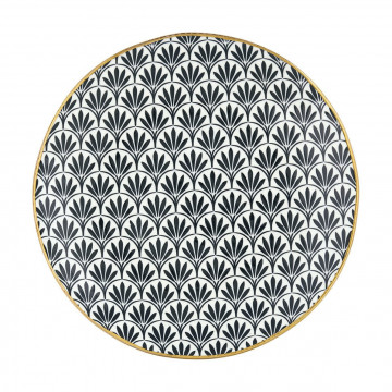 Plato de cerámica Victoria Black con borde Oro Get Noir Green Gate