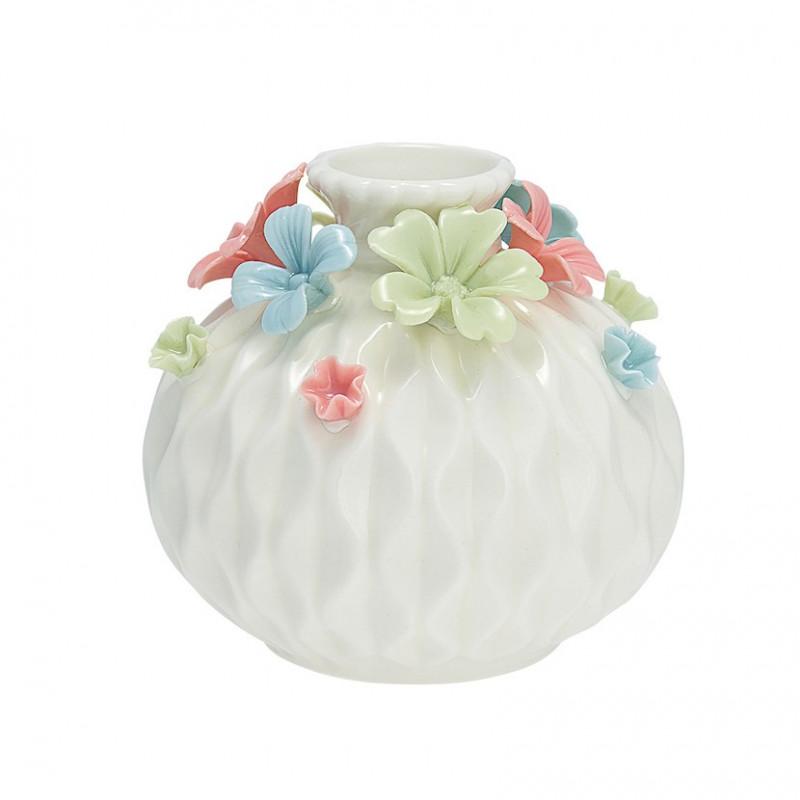 Jarrón de cerámica Blanco Labrado y Flores Colores Pasteles Green Gate