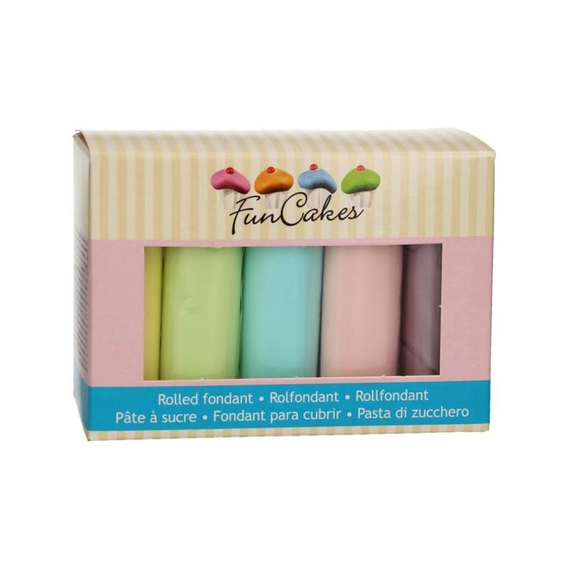 Pack de 5 fondant Colores Pasteles 100gr Funcakes
