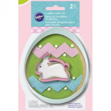 Pack de 2 cortantes Huevo y Conejo de Pascua Wilton