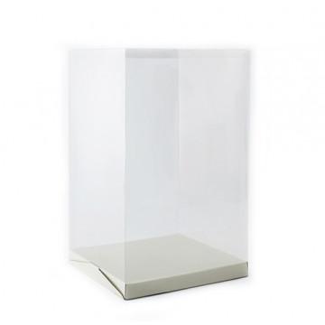 Caja de plástico transparente + base de 30 x 50 de altura Modecor