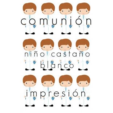 Papel de azúcar Comunión Niño Castaño Blanco