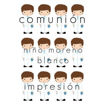 Papel de azúcar Comunión Niño Moreno Blanco