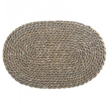 Salvamantel ovalado de Rafia Gris Natural 38 cm
