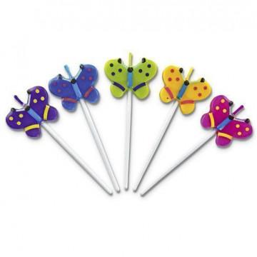 Set 5 velas mariposas varias Stadler