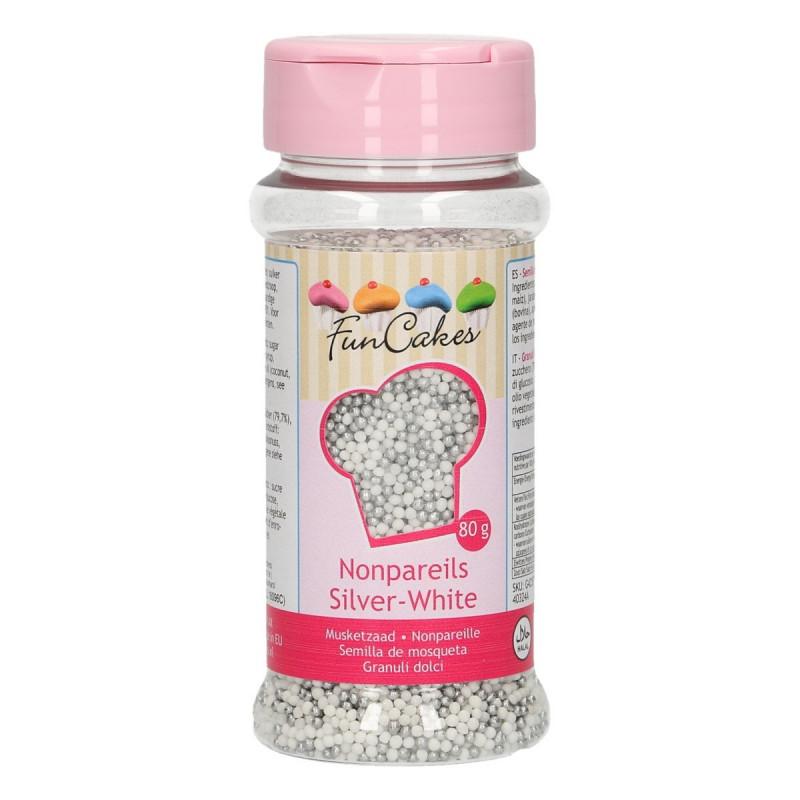 Sprinkles Nonpareils Mini perlitas Plata y Blanco Funcakes