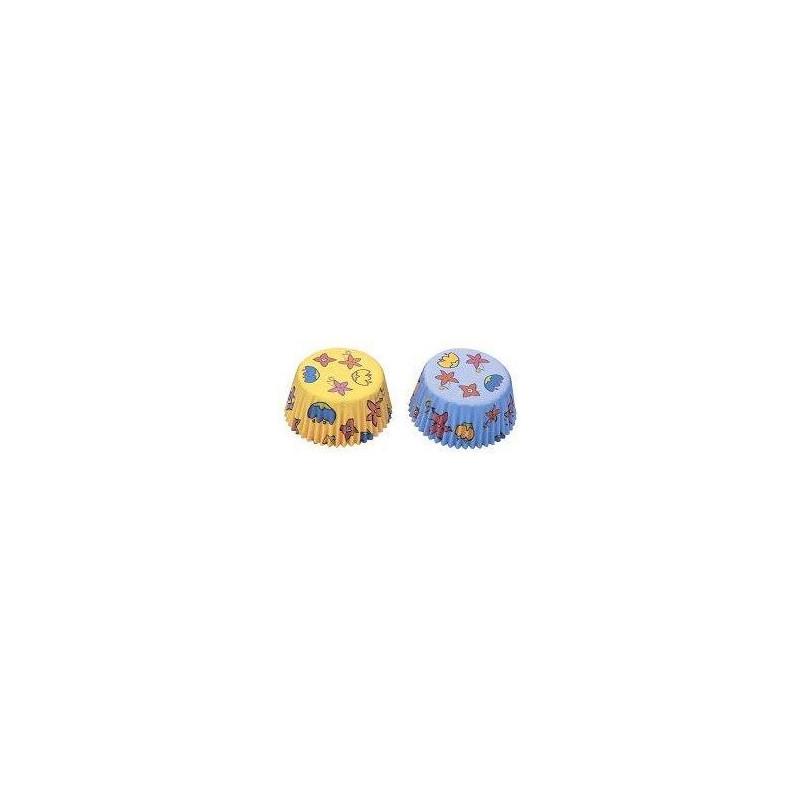 Capsulas mini cupcakes Amarilla y Azúl con flores Städter