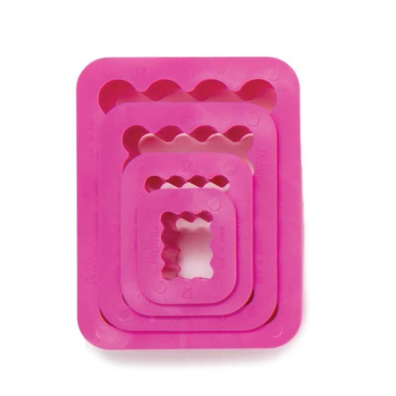 Pack de 4 cortantes rectangulares rizados Decora Italia