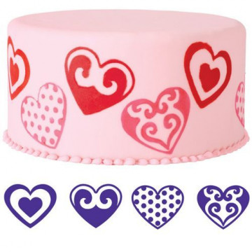 Sello Estampación Pack 4 Corazones Wilton