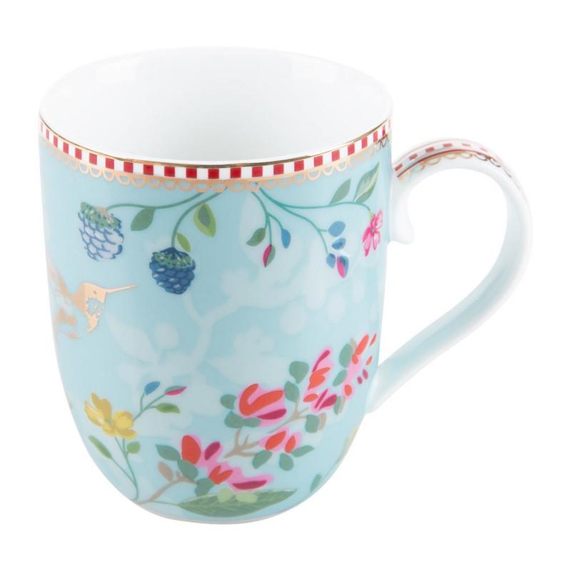 Taza con asa mediana Floral Hummingbirds Azul Pip Studio