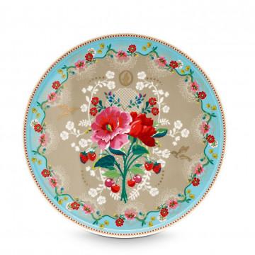 Cake Stand de cerámica 32 cm Floral Cherry Azul Pip Studio