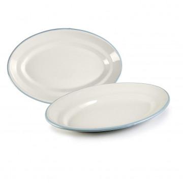 Bandeja ovalada esmaltada 35 cm Blanco y Celeste Ibili