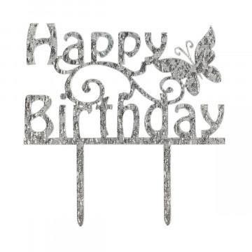 Topper para tarta Plata Happy Birthday Mariposa