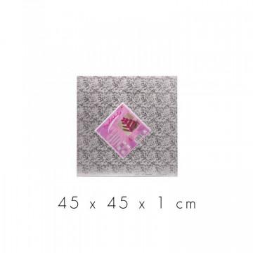 Bandeja de presentación cuadrada 45 x 1 cm Plata Flores