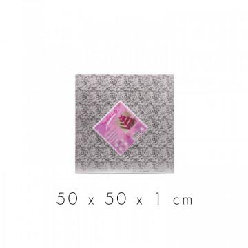 Bandeja de presentación cuadrada 50 x 1 cm Plata Flores