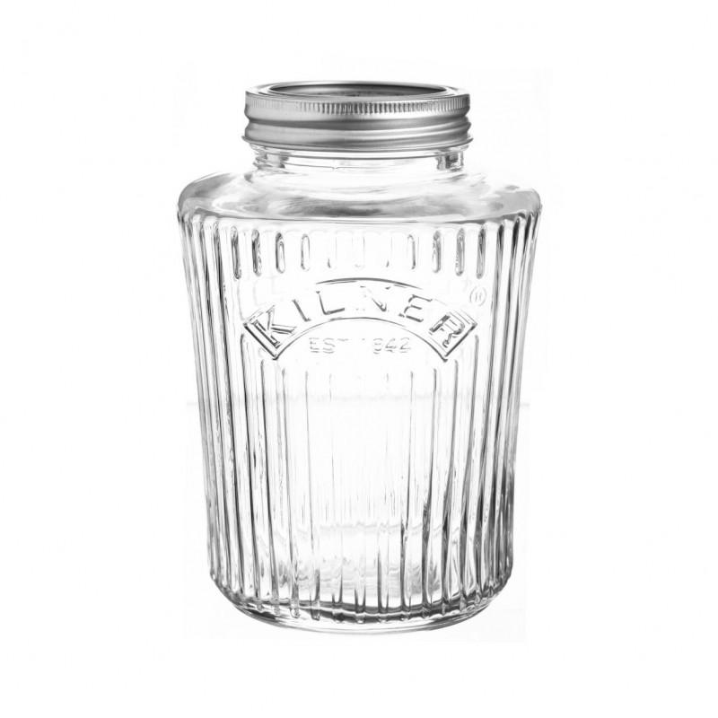 Tarro de cristal con tapa y rayas 1 litro Kilner