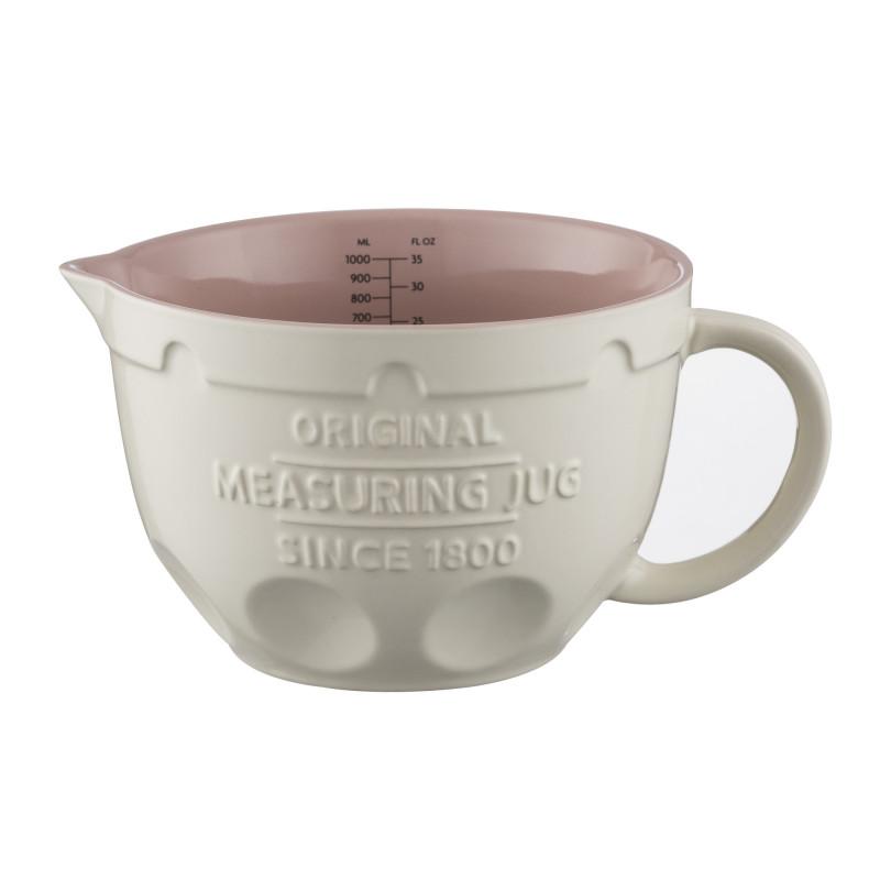 Bol de cerámica con asa Crema con interior Rosa 1litro Mason Cash