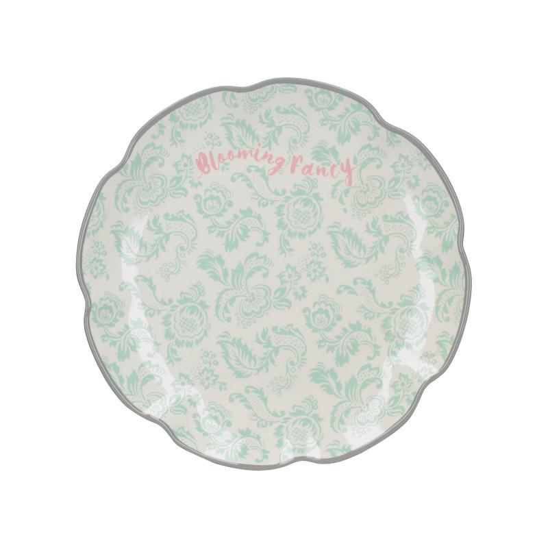Plato de cerámica Blooming Fancy Flores Verde Menta Creative Tops