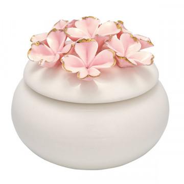 Joyero de cerámica crema con flores rosa y oro Green Gate