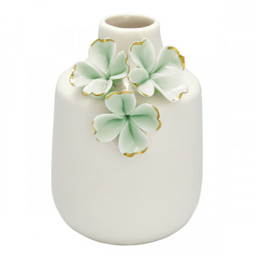 Florero de cerámica crema con flores verde menta y oro Green Gate