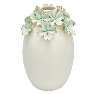 Florero de cerámica alto crema con flores verde menta y oro Green Gate