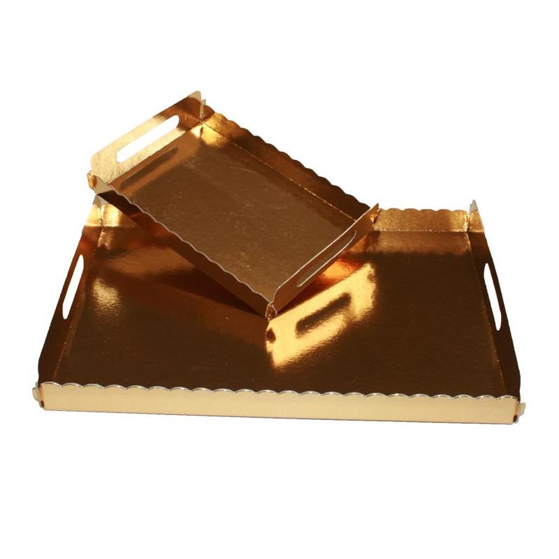 Bandeja con asas Oro rectangular 22 x 28 cm