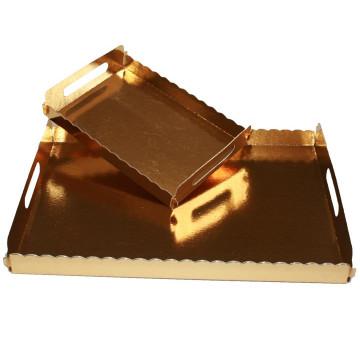Bandeja con asas Oro rectangular 25 x 34 cm