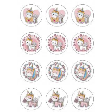 Papel de azúcar para cupcakes 12 unidades Unicornio Modecor