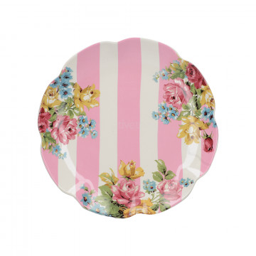 Plato de cerámica Blooming Fancy Rayas Rosa Creative Tops