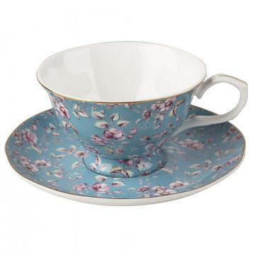 Juego de Taza y plato Ditsy Floral Azul Katie Alice