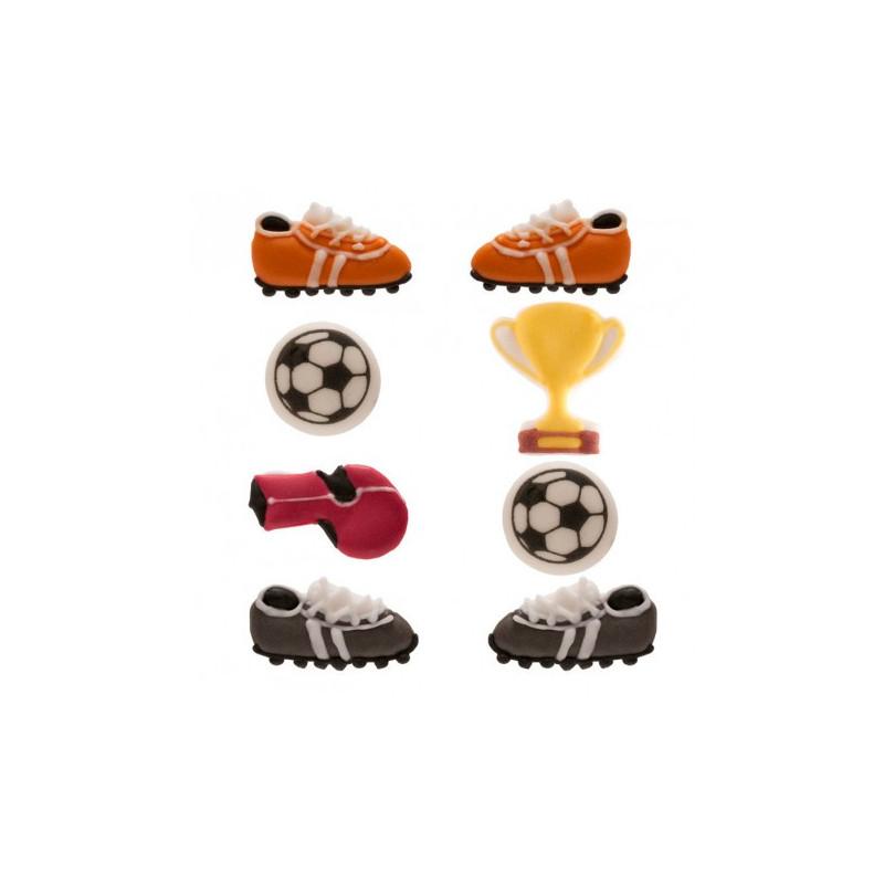 Pack de 8 Decoraciones Comestibles Futbol Dekora