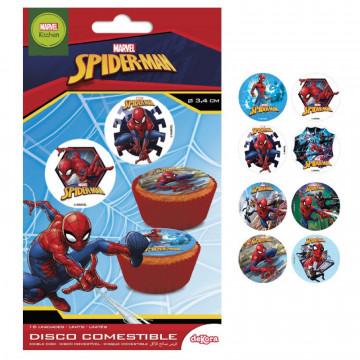 Papel de azúcar para cupcakes 16 unidades Spiderman