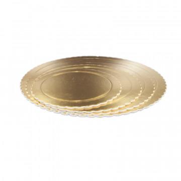 Bandeja de presentación redonda con blondas 25 x 0.3 cm Oro
