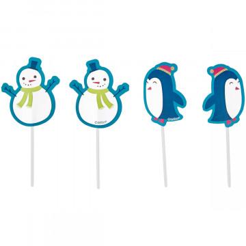 Pack de 12 Toppers Muñeco de Nieve y Pingüinos Navidad Wilton