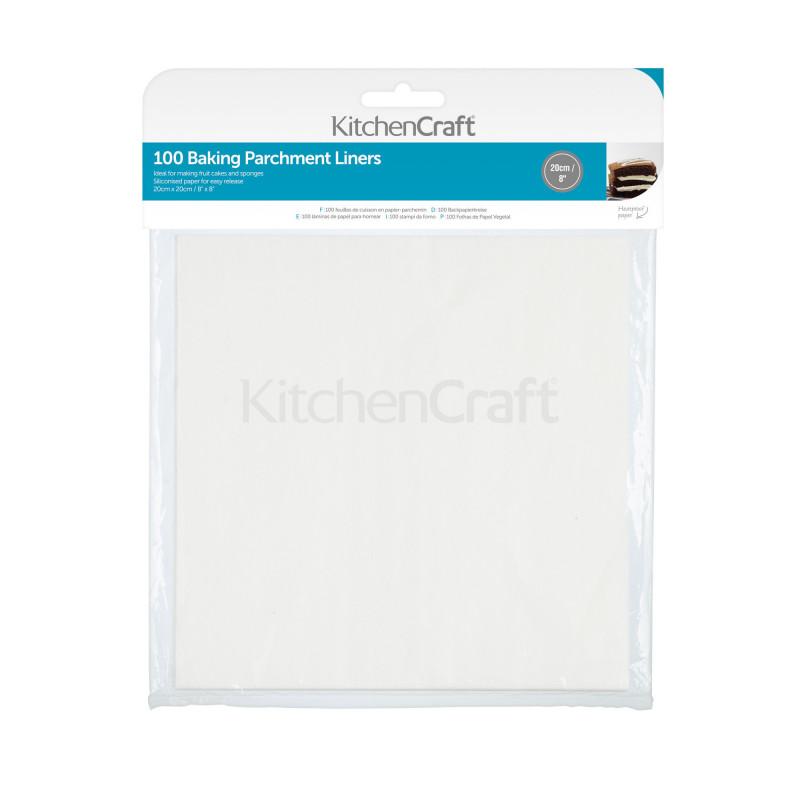 Pack de 100 Bases cuadradas de papel de horno 20 cm Kitchen Craft