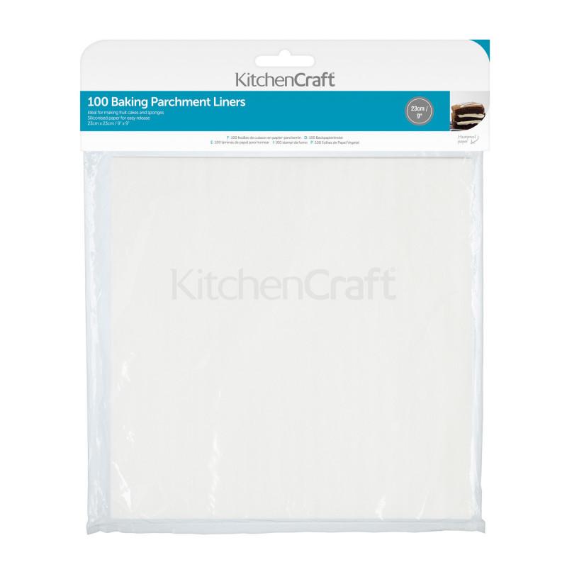 Pack de 100 Bases cuadradas de papel de horno 23 cm Kitchen Craft