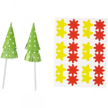 Pack de 12 Toppers Árbol de Navidad y Estrellas Wilton