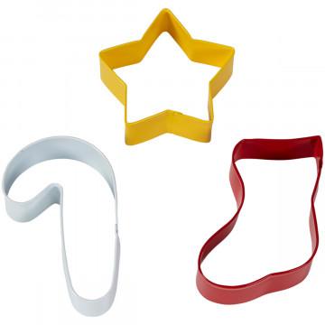 Pack de 3 cortantes: Bastón de caramelo, Estrella y Calcetín Navidad Wilton