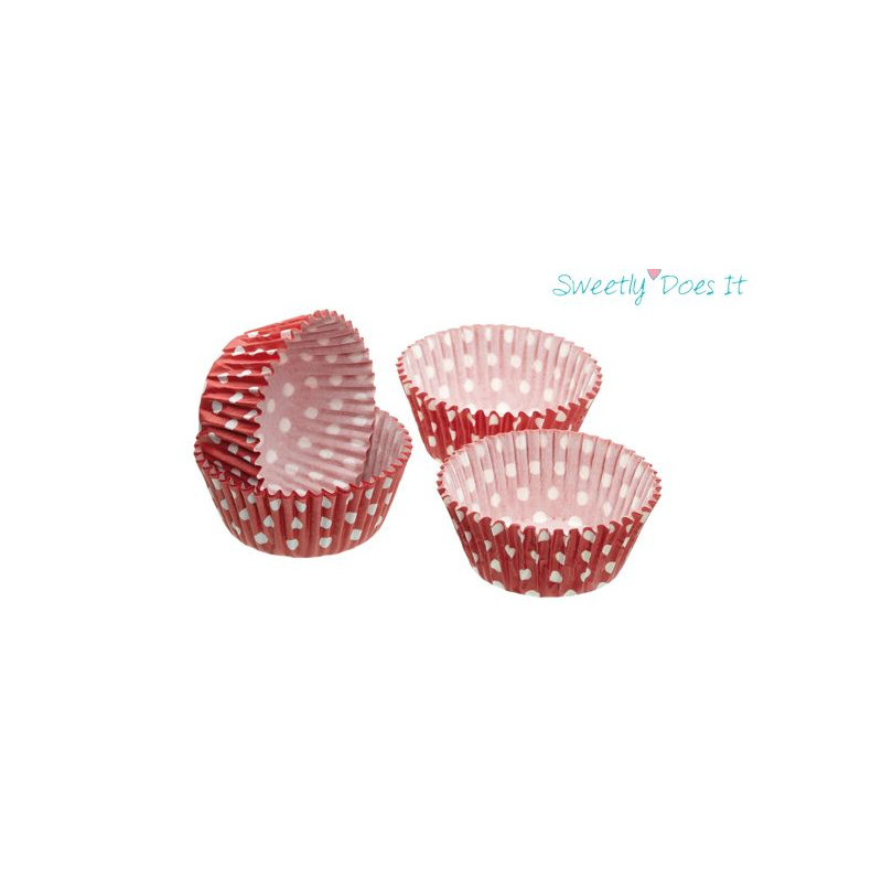 Capsulas mini cupcakes lunares rojo Sweetly does it