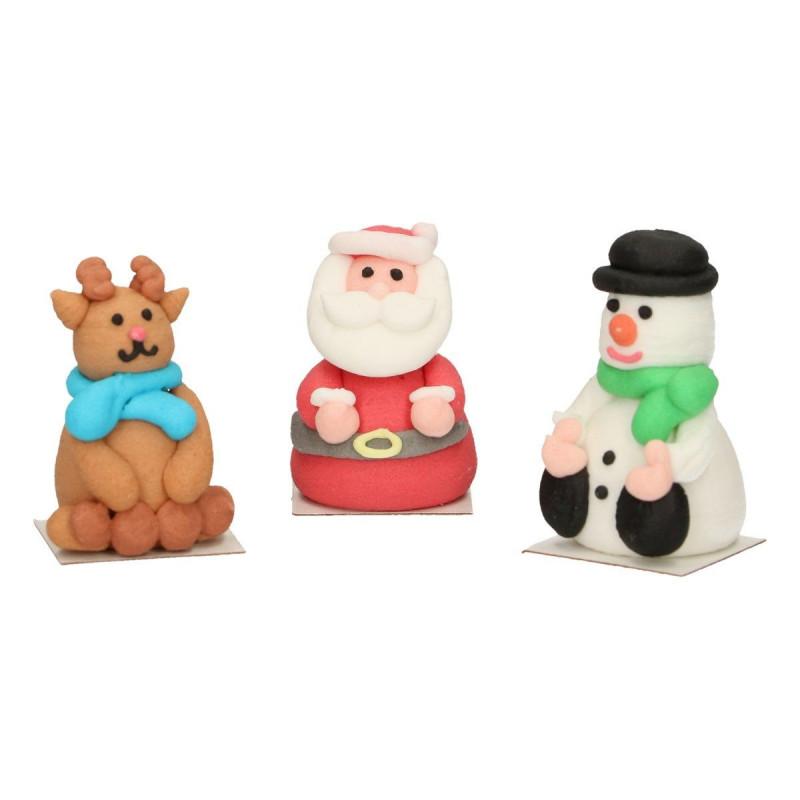 Pack de 3 Decoraciones de azúcar: Papa Noel, Reno y Muñeco de Nieve Funcakes